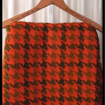 Vintage PENDLETON virgin wool houndstooth blanket bedspread blanket throw