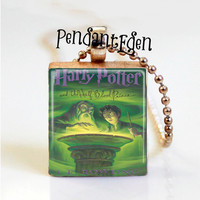 harry potter and the half blood prince Book cover Necklace Pendant Scrabble tile Pendant gift for her lovers fan harry potter miniature book