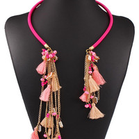 Pink Chain Stone Tassel Open Cuff Boho Necklace