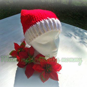 Crochet Santa hat. Christmas hat. 25% off Christmas in July sale.