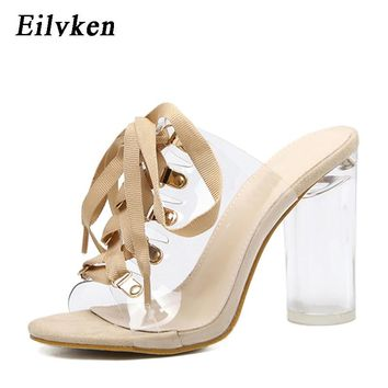 Eilyken New Sexy PVC Transparent Gladiator Sandals Peep Toe Lace-Up Shoes Clear Chunky heels Sandals slippers Women