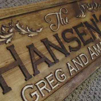 Personalized Sign Custom Carved Wood Wedding Gift by Lovejoystore