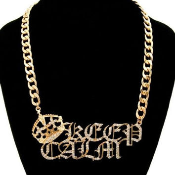 "Bling Rhinestone ""KEEP CALM"" Statement Necklace Gold CROWN Old English Word"