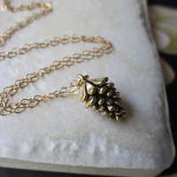 Hello Fall, Gold Pinecone Charm Necklace