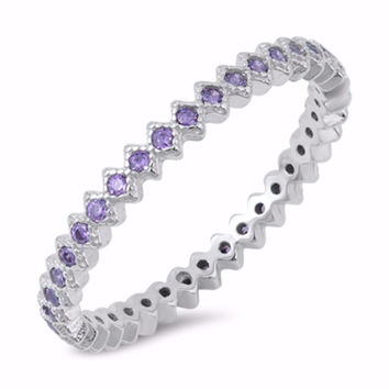 Sterling Silver CZ Simulated Amethyst Eternity Ring 2MM