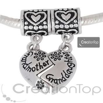 Charm for any Pandora bracelet, Dangle bead, heart shape dangle charm with grandmother