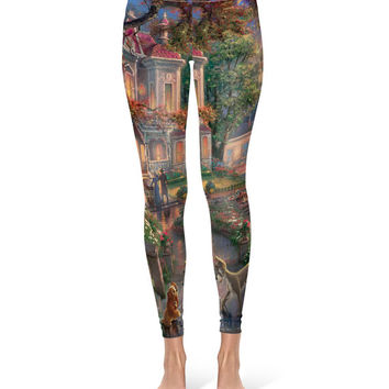Lady and the Tramp Disney Fine Art Painting - Leggings in XS-3XL - Sports or Fleece Fabric Leggins - Yoga, Gym, Thick Winter 000675