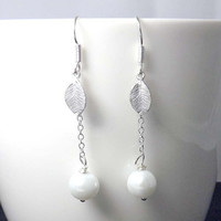 Sterling Silver Pearl Drop Earrings - vintage style-Bridesmaids,bestfriend,Wife,Girlfriend Gift