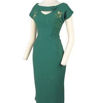 Bettie Page Dresses-50s Style Sierra Green Pencil Wiggle Dress