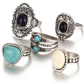 5 Pcs/Set Antique Silver Color Bohemian Midi Ring Set Vintage Steampunk Anillos Knuckle Rings For Women Boho Jewelry dropship 30