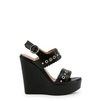 Love Moschino Black Ankle Strap Leather Wedges