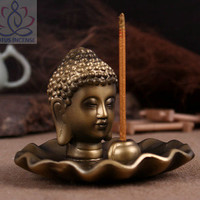 Golden Buddha Head Ceramic Aromatherapy Incense Holder for Incense Stick,Incense Cone