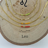 LEO Morse Code necklace, CUSTOM morse code, Secret Message, Dainty necklace, Personalized, Morse code jewelry, Birth necklace, mother Gift