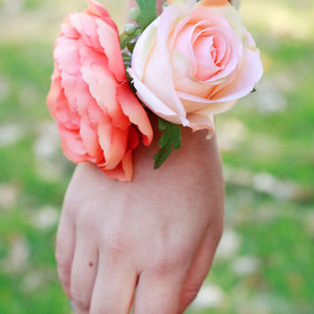 Silk Coral and Peach Rose and Ranunculus Corsage