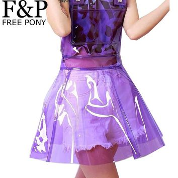 Holographic Clear PVC  Plastic Overall Dress