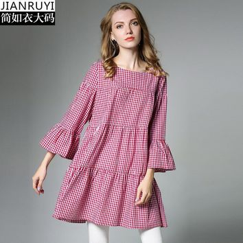 Mulberry Black Cute Plaid Loose A-line Dress for Women Autumn Ruffles 3/4 Flare Sleeve Cotton Dress