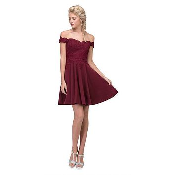 Off-Shoulder Short Homecoming Party Dress Burgundy