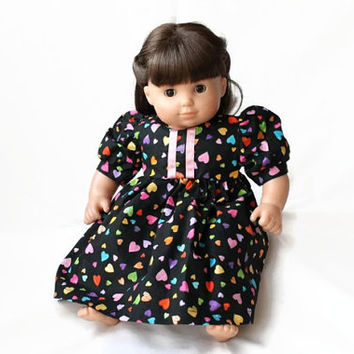 Doll Dress Rainbow Hearts Black Pink Yellow Blue Green Orange Summer Spring Bitty Twin Baby 14 to 16 inch Clothes --US Shipping Included