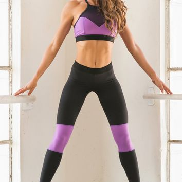 Bombshell Sportswear Fit Diva | Designer Leggings - Black / Purple