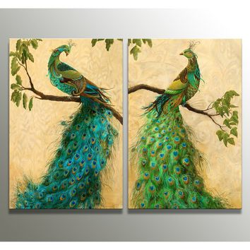 2 The Panel Wall Art of Peacock Painting Pictures Print On Canvas The Picture For The   Home Modern Decoration piece(Frame:No)