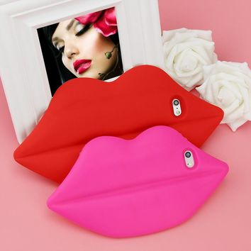 Girls soft silicone sexy 3D mouth lips capa fundas phone case protection shell holder cover for Apple iPhone 5 5S SE 6 6S plus