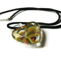 Rainbow Heart Necklace, Glass, Pride, Black Leather Cord