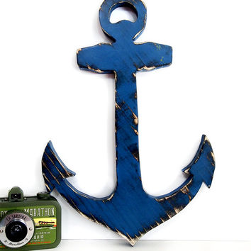 Anchor 2 in Navy and cream Pine Wood Sign Wall Decor Rustic Chic Americana Nautical Coastal Country Chic Photo prop Custom Gift Wall Decor