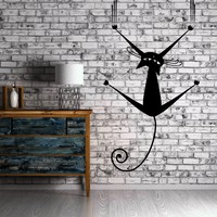 Cat Wall Sticker Kitten Vinyl Decal Decor for Living Room Animal Pet Unique Gift (ig1241)