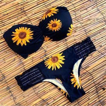 Sexy Swimwear Womens Ladies Bikini Set Padded Bra Sunflower Swimsuit Bathing Suit Beach Bandeau Bikinis