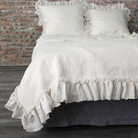 Frayed Ruffles Pure Linen Duvet Cover Chalk