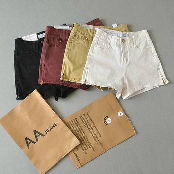 Summer High Quality Stretch Pants Zippers High Rise Denim Shorts [6034574785]