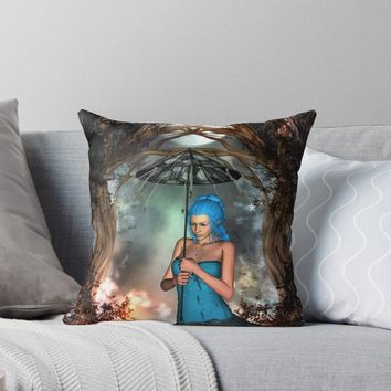 'Wonderful fairy with umbrella' Throw Pillow by nicky2342