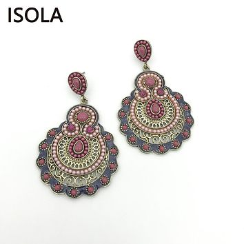ISOLA Hollow Vintage Seed Bead Filled Water Drop Soutache Earring Resin Rhinestone Ethnic Style Charming Boho Earrings