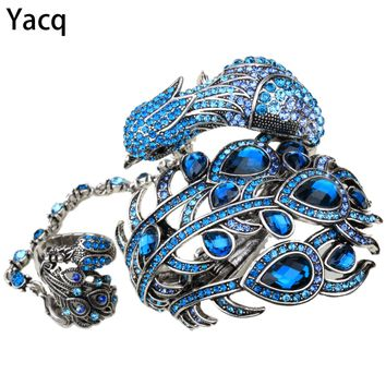 YACQ Peacock Bangle Bracelet Slave Hand Chain Attached Ring Sets Women Jewelry Gifts A23 Silver Gold Color