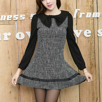 Kawaii Lolita Lovely Bowknot Slim-Line Long Sleeve Dress - S M L XL from Tobi's Finds