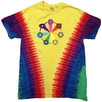 Yoga Clothing for You Mens Chakra Circle V-dye Tee Shirt