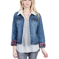 Thread and Supply Plaid Lined Denim Jacket