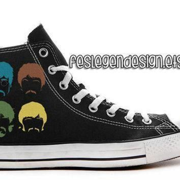 DCCK1IN the beatles custom converse painted shoes