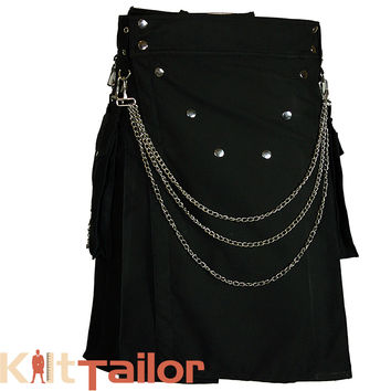Black Fashion Utility Kilt Custom Made