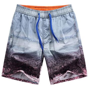 Hawaiian Style Seaside Printing Icy Cotton Breathable Loose Beach Shorts for Men