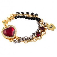 Disney Couture Snow White Red Crystal Heart & Dagger Bracelet  at Zentosa