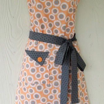 Cute Floral Apron , Orange and Gray, Retro Apron , Women's Full Apron , Vintage Style , KitschNStyle