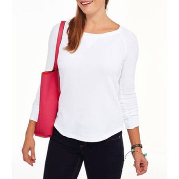 Faded Glory Women's Long Sleeve Thermal Raglan T-Shirt, White, X-Large