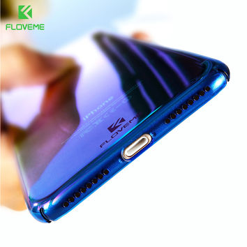 FLOVEME For iPhone 6 6S Plus Case 5 5S SE Gradient Blue-Ray Light Case For Apple iPhone 7 7 Plus 5S Clear Accessories Cover Capa