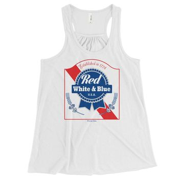 Red White & Blue PBR 4th Of July - Women's Flowy Tri Blend T-Shirt - Various Colors