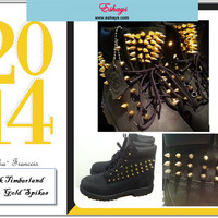 Custom Spiked Black Timberland w/ Gold Spikes on Tongue