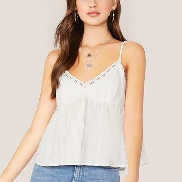 Embroidered Lace Trim Cami Tank Top