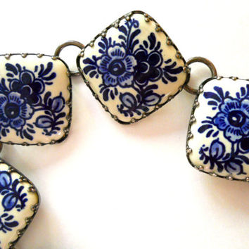Ceramic Blue & White Bracelet, Floral Tile Panels, Vintage