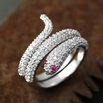 Snake Wrap Ring Pink Eyes Crystal Animal Adjustable Jewelry Free Size Gift Idea