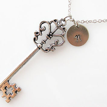 personalized key necklace, extra long necklace, bridesmaid gift, hand stamped initial, silver skeleton key necklace, romantic jewelry